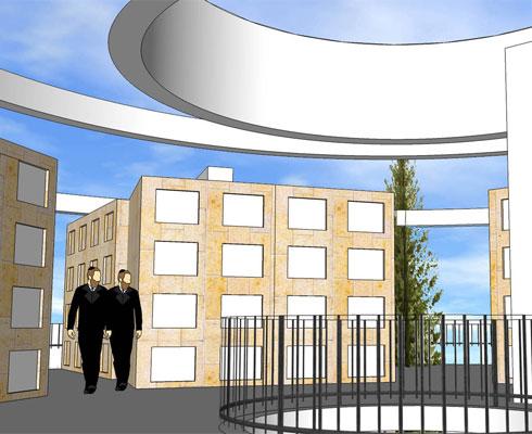 למי שייקבר מעל האדמה, מציע האדריכל יחיאל קומט נוף ליער ירושלים (הדמיה: י.קומט אדריכלים)