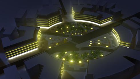 ההצעה של האדריכלית קרן אנגלמן, שלא התקבלה, שימרה את תוואי הכבישים הקיים. ''מבלי לחזור על טעויות העבר'', היא טוענת (הדמיה: Happy World Architecture - אדר' קרן אנגלמן)