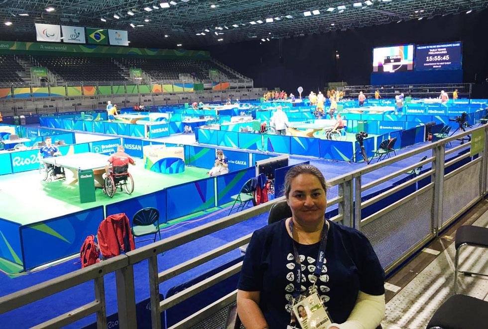 """חגית בריל באצטדיון בריו, השבוע. """"האולימפיאדה היא שיא השיאים. אם לא הייתי נפצעת, אני לא יודעת אם הייתי מצליחה להגיע לשם""""  (צילום דודי אלטרץ)"""