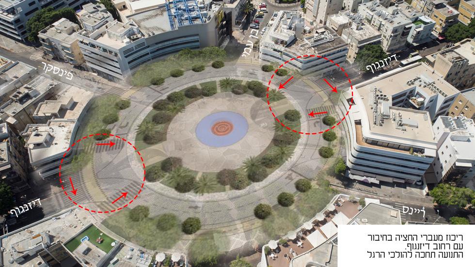 וימשיך בהיקף המעגל, ככל שהולכי הרגל יעברו מצד לצד בין בתי הקפה לבין המעגל הירוק המחודש (צילום: take air, עיבוד: Xnet אדריכלות)
