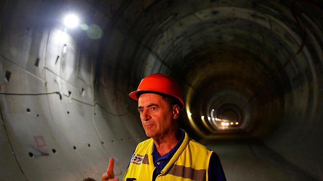 Transportation Minister Yisrael Katz at the tunnel for the new train line (Photo: Reuters)