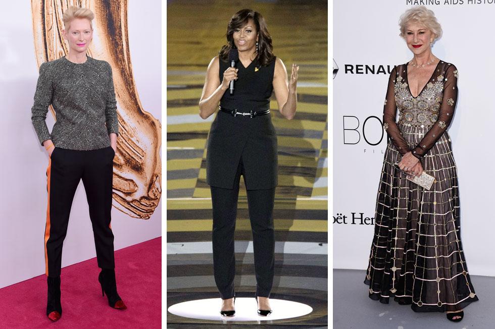 מוכיחות שוב כי לסטייל אין גיל: הלן מירן, 71; מישל אובמה, 52; טילדה סווינטון, 55 (צילום: Gettyimages)