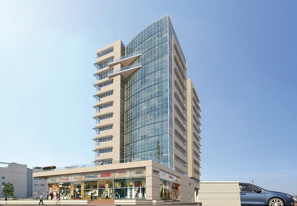 הדמייה של מגדל משרדים באזור התעשייה החדש בראשון לציון (הדמיה: י.י גרנות אדריכלים)