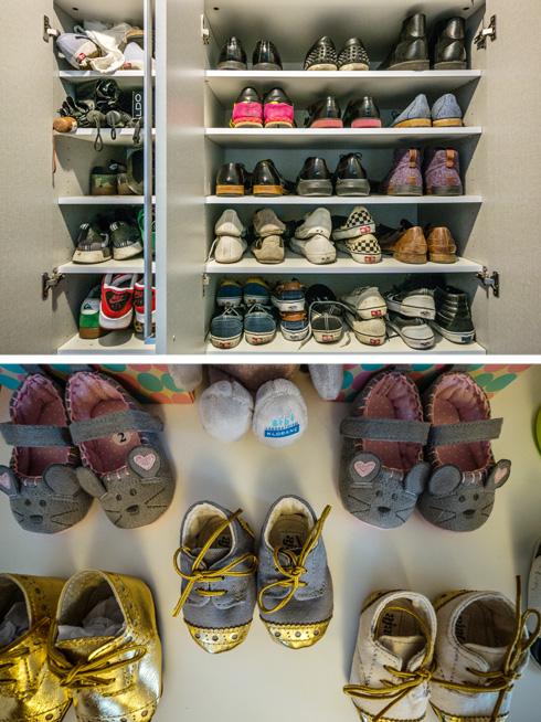 למעלה: ארון הנעליים של אדרי. למטה: הנעליים של אלמה ואסיה (צילום: איתי סיקולסקי)