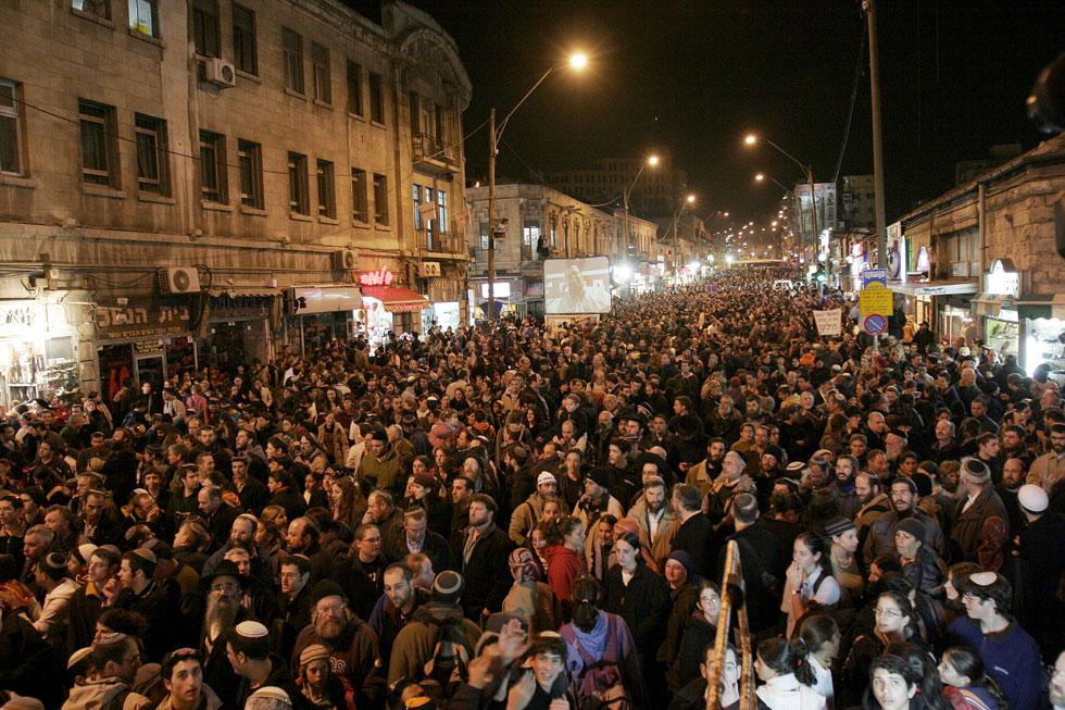 כיכר ציון, שבה מצטלבים המדרחובים של יפו ובן יהודה, היא מוקד מרכזי בירושלים - גם להפגנות (צילום: חיים צח)