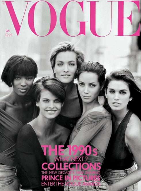 הולדת עידן הסופר מודלס על מגזין ווג בריטניה ב-1990