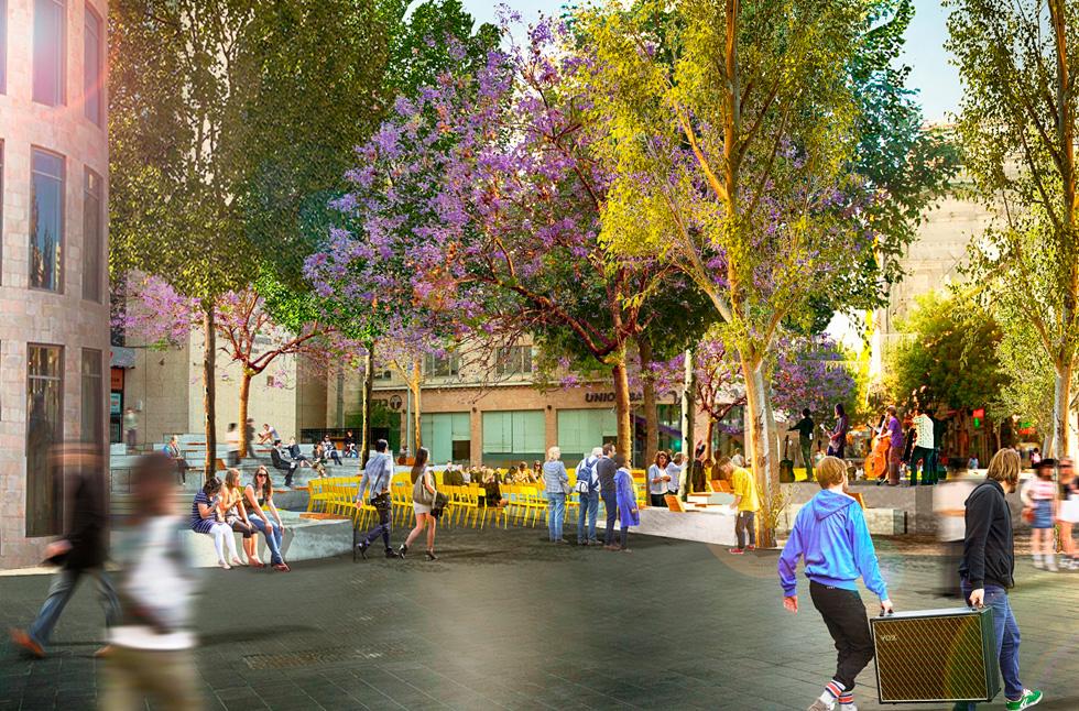 בהצעה שזכתה בתחרות מטעם העירייה, מציעים 3 אדריכלים ירושלמים לשנות את פניה של הכיכר. ''קרחת יער אורבנית'', הם קראו להצעתם (הדמיה: יגאל טרטקובסקי)