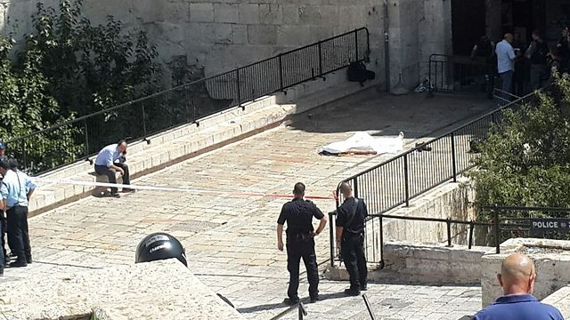 Scene of the Jerusalem stabbing attack Friday (Photo: Ohad Zwigenberg) (Photo: Ohad Zwigenberg)