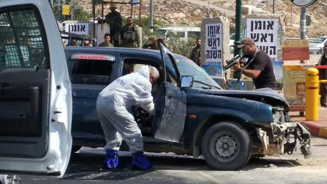 The vehicle used for the attack at the Elias Junction (Photo: Kiryat Arba Council)