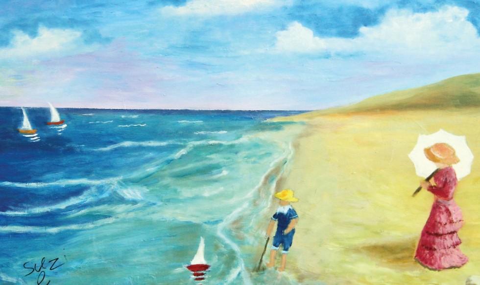 מתבוננת בדברים היפים שיש בחוץ. ציור של סוזי אלבז ( ) ( )
