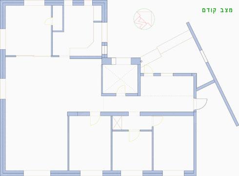 תוכנית הדירה לפני השיפוץ האחרון, כשהכניסה נעשתה לחדר נפרד (הדמיה: אסתי די-נור סטודיו Wabi-Sabi)