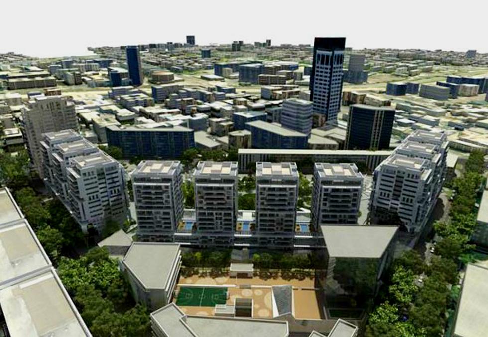 מתחם השוק הסיטונאי של ''גינדי''. 117 דונם בבנייה צפופה, שעלו לרוכשי המגרש בשעתו כמעט מיליארד שקל. מבנה הטרפז מימין הובטח כמבנה תרבות (מתוך project-tlv.com)