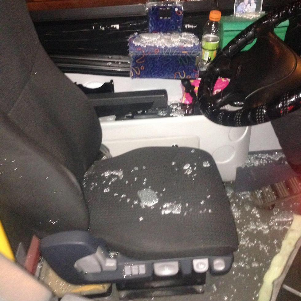 Shattered glass on the bus attacked in east Jerusalem (Photo: EE911 Reports)