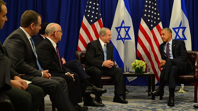 Netanyahu and Obama sitting down together, perhaps for the last time (Photo: Kobi Gideon, GPO)