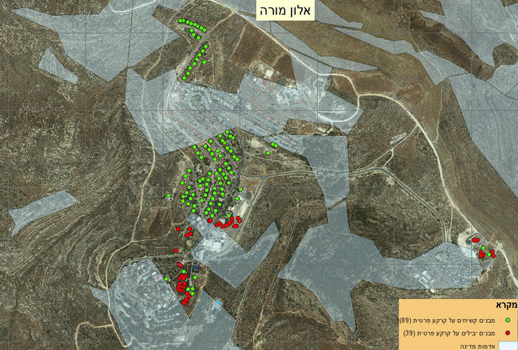 Elon Moreh. Green and red dots mark buildings on private land