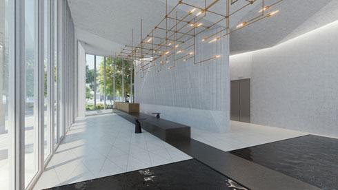 בריכות פנימיות בלובי של מגדל לסין, בתכנון פיצו קדם אדריכלים,אירנה גולדברג וסיגל ברנוביץ' (הדמיה: סטודיו בונסאי)