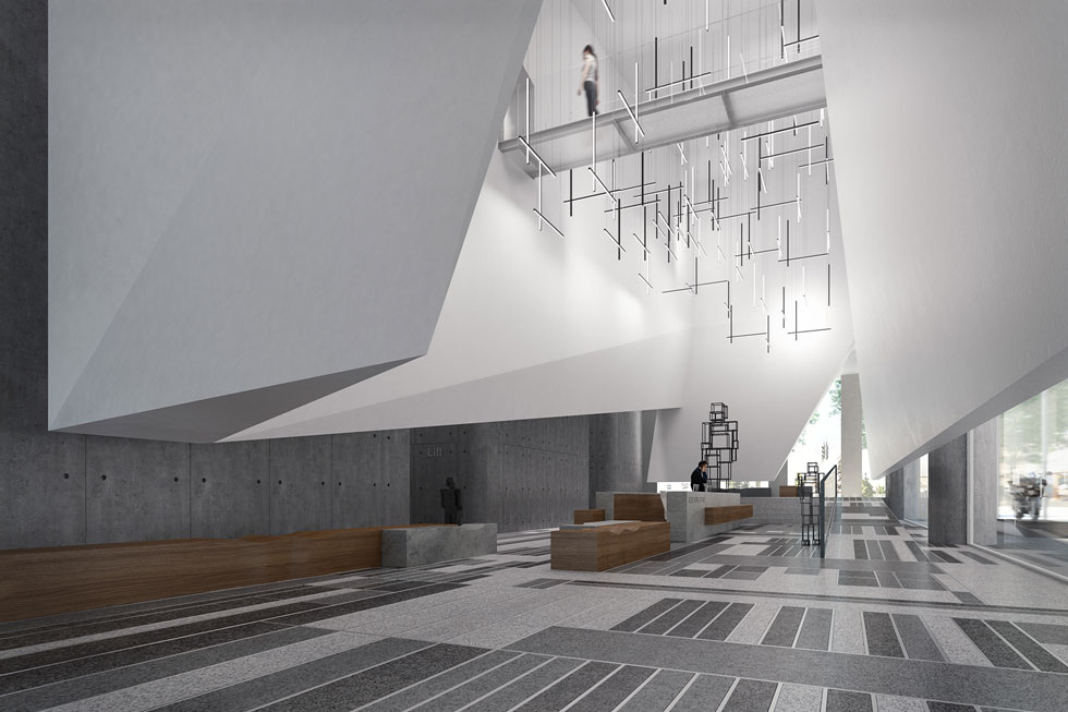 """הדמיה של הלובי במגדל C6, שמתכנן קדם במתחם יצחק שדה החדש, בשיתוף אירנה גולדברג וסיגל ברנוביץ'. יזמי הנדל""""ן הבינו שכדי להתבלט ולהתבדל – בידול שמשמעותו היא בסופו של דבר גם שיווקית וכלכלית – צריך לשדרג את מעטפת הבניין (הדמיה: סטודיו בונסאי)"""