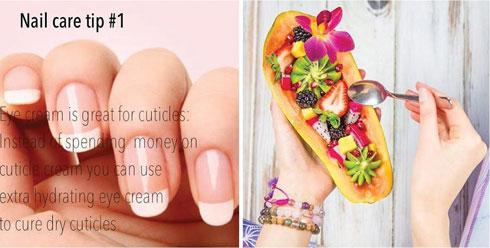 מימין: Detox Foods; משמאל: Beauty tips (צילום: מתוך Instagram.com)