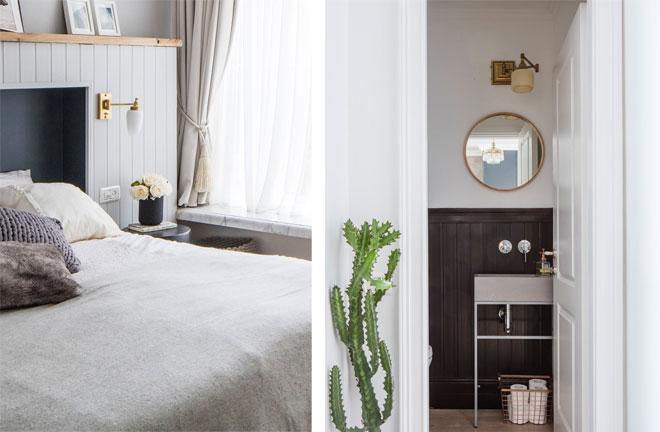 מנורות זרוע גם בשירותים וליד המיטה, בדירה של סטודיו 37 (צילום: אביעד בר נס)