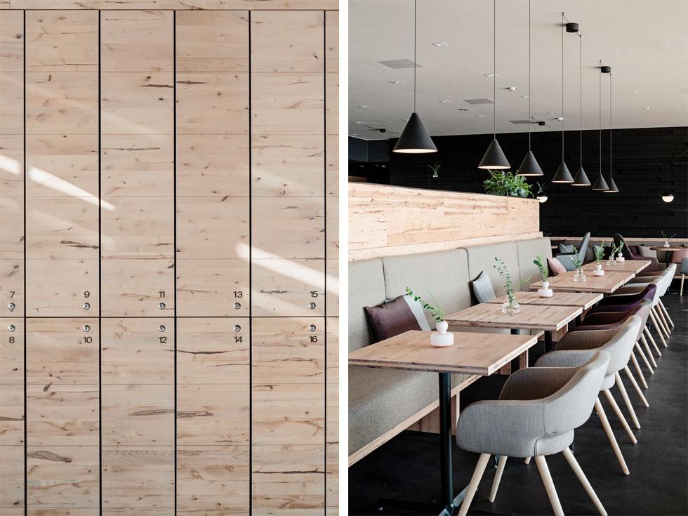 המסעדה והלוקרים. לוחות העץ הכבושים הם פיתוח פיני חדש, שעושה שימוש בפסולת של תעשיית עץ הליבנה הלבוד (צילום: kuvio.com)