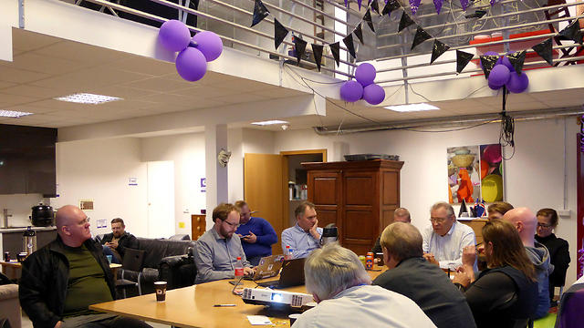 Members of the Icelandic Pirate Party are gathered at the party's headquarters in Reykjavik (Photo: Reuters)