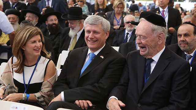 Former Canadian Prime Minister Stephen Harper, center (Photo: Gil Yohanan)