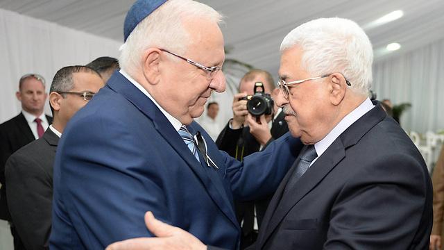 Abbas with President Reuven Rivlin at the funeral of Shimon Peres (Photo: Mark Neiman, GPO)