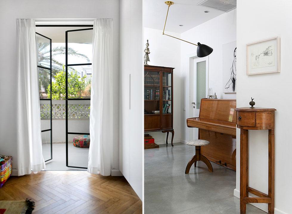 בהול (מימין) יש שני רהיטים לא קטנים, אך מראהו נקי ומאוורר. משמאל: מרפסת הכניסה המקורית הפכה למרפסת הצמודה לחדרה של הבת (צילום: שירן כרמל)