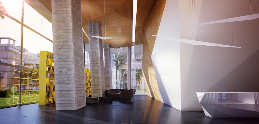 הדמיה של הלובי במגדל ''ארלוזורוב 17'' שבמתחם דן לשעבר בתל אביב, בתכנון פיצו קדם אדריכלים. משטחים מקופלים ו''ספרייה תל אביבית''. לדברי קדם, הלובי משרת ''את הציבור והמרחב העירוני כמו גם את היזם והאדריכל, שרוצים להראות את הבניין'' (הדמיה: סטודיו בונסאי)