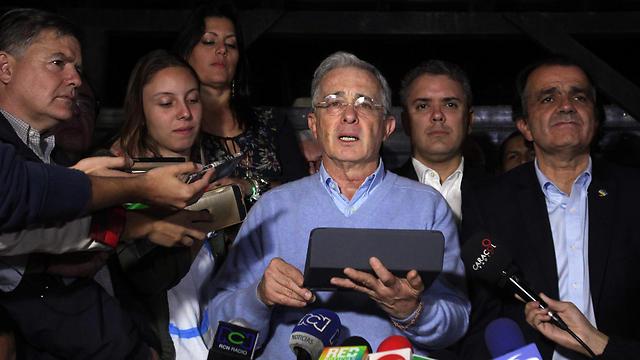 הנשיא לשעבר אלבארו אוריבה. הוביל את הקמפיין העממי נגד ההסכם (צילום: EPA) (צילום: EPA)