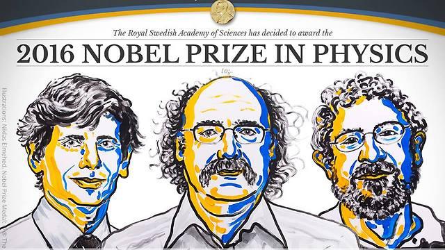 שלושת הזוכים בפרס נובל בפיזיקה. קוסטרליץ', הולדיין וטאולס (משמאל)