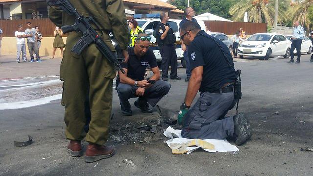 Place where rocket exploded in Sderot, Wednesday (Photo: Barel Ephraim)