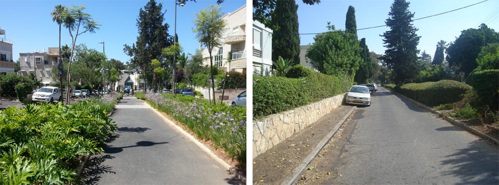 לפני ואחרי בשדרות הנדיב בחיפה. להפוך רחוב למקום שנעים להלך בו (צילום: דוד אלחנתי אדריכלות נוף)