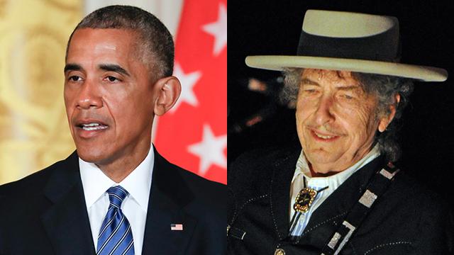 בוב דילן (פרס נובל לספרות 2016) וברק אובמה (פרס נובל לשלום 2009) (צילום: AFP, AP) (צילום: AFP, AP)