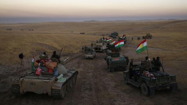 הכוחות הכורדיים במבצע לשחרור מוסול (צילום: AP) (צילום: AP)