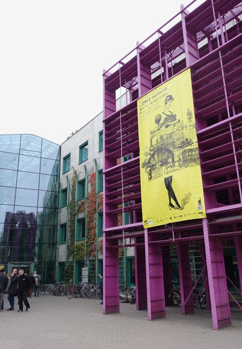מדפי הספרייה הישנה נצבעו סגול והוצבו בכניסה (צילום: מיכאל יעקובסון)
