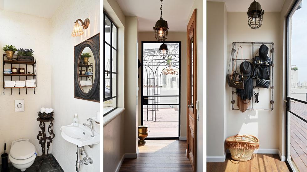 """מימין: גוף תאורה ומתלה מצינורות מייצגים את הקוטב התעשייתי בסקאלת הסגנונות שבעיצוב הדירה. במרכז: פטיו מרשים שניצב במרפסת """"נכנס"""" אל הבית דרך דלת הזכוכית. משמאל: מבט לשירותי האורחים (צילום: שי אדם)"""