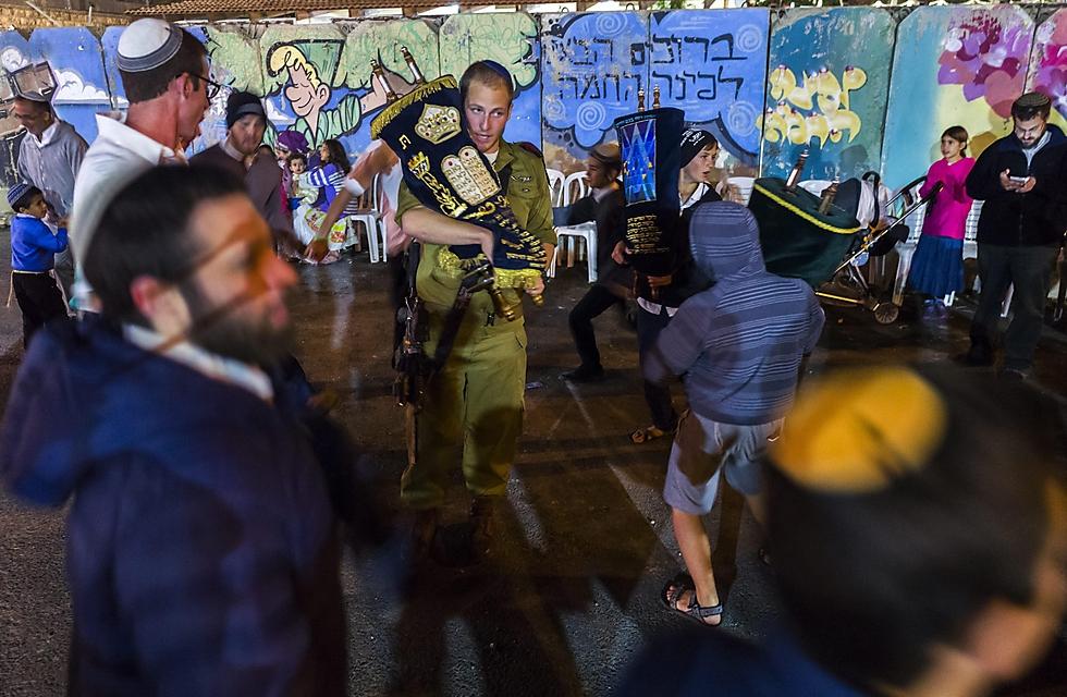 Hakafot in Gush Etzion (Photo: EPA)