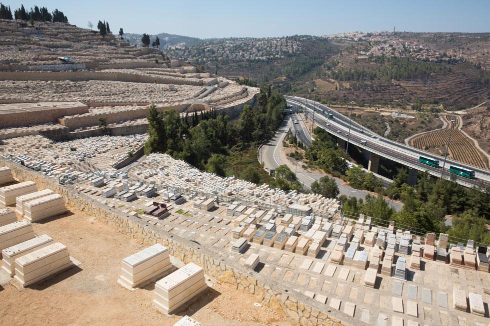 במבט מהכניסה לירושלים, התמונה המתקבלת חשופה מתמיד. פחות עצים, פחות גאיות, הרבה יותר אוטוסטרדות, גשרים וגם מצבות (צילום: דור נבו)