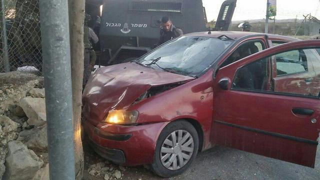 The car used in the vehicular attack (Photo: Israel Police)