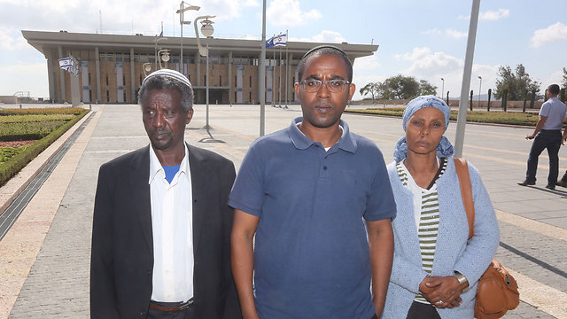 The Mengistu family at the Knesset (Photo: Gil Yohanan)