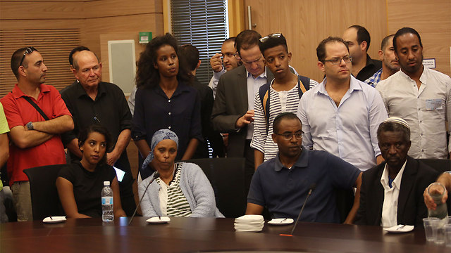 Mengistu's family and some supporters at the Knesset (Photo: Gil Yohanan)