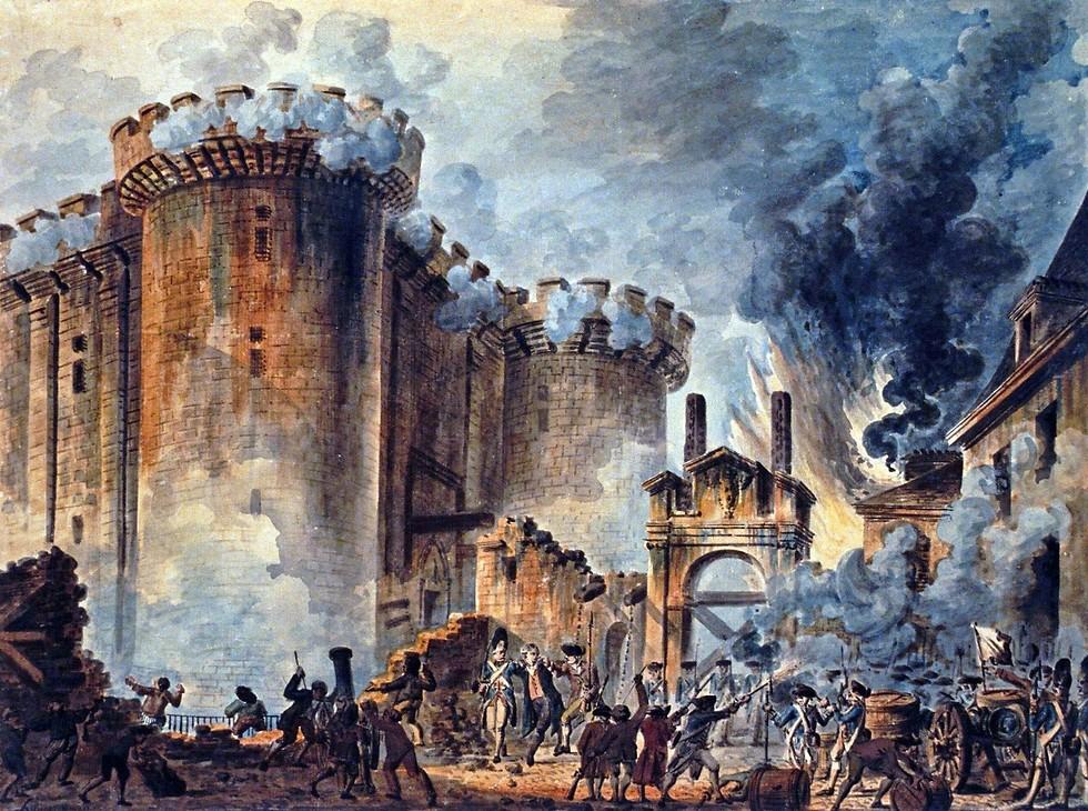 המהפכה הצרפתית בסוף המאה ה-18 היוותה את הסמל לשינויים הקיצוניים בסדרי החברה והממשל של אותה תקופה, ואחריה התחולל השינוי. נפילת הבסטיליה. ציורו של ז'אן-פייר הואל, 1789.  ()