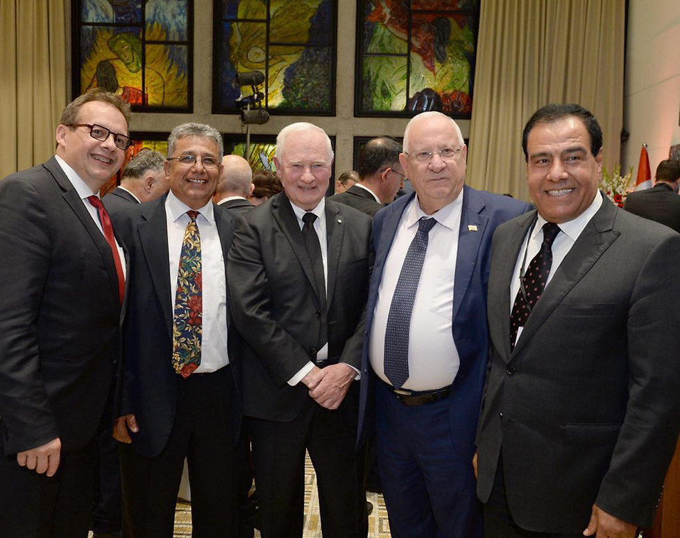 Canadian delegation with President Rivlin;  el-Aish on the far right.