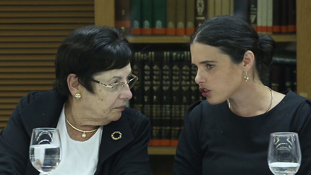 Justice Minister Ayelet Shaked (R) with Chief Justice Miriam Naor (Photo: Gil Yohanan)