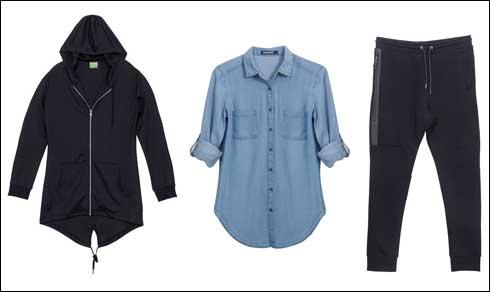 מכנסיים, 139.90 שקל; חולצת ג'ינס, 129.90 שקל; קפושון אוברסייז שחור, 169.90 שקל (צילום: HOODIES)