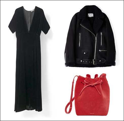 ז'קט שרלינג של אקנה, 12,500 שקל; תיק סל אדום של מנסור גבריאל, 3,149 שקל; שמלת קטיפה שחורה של גאני, 2,600 שקל