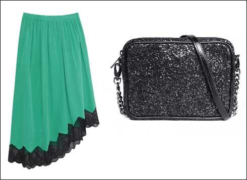 תיק קטן, 1,220 שקל; חצאית, 860 שקל