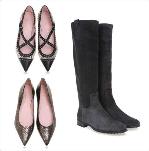 מגפיים גבוהים, 1,490 שקל; נעלי בלרינה עם רצועות, 1,290 שקל; נעלי בלרינה בדוגמת נחש מטאלית, 899 שקל (צילום: ניר יפה)