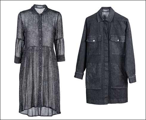 ז'קט ג'ינס במראה צבאי, 1,690 שקל; שמלת שיפון עם נקודות קטיפה, 1,900 שקל (צילום: שני סקרלט כגן)